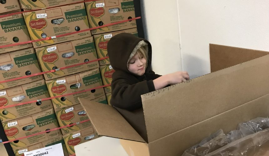 BSLC Sunday school kids volunteered at the Idaho Food Bank.